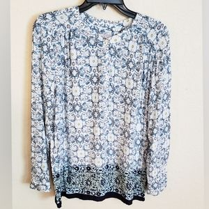 Blue and White Print Blouse Size Large Petite
